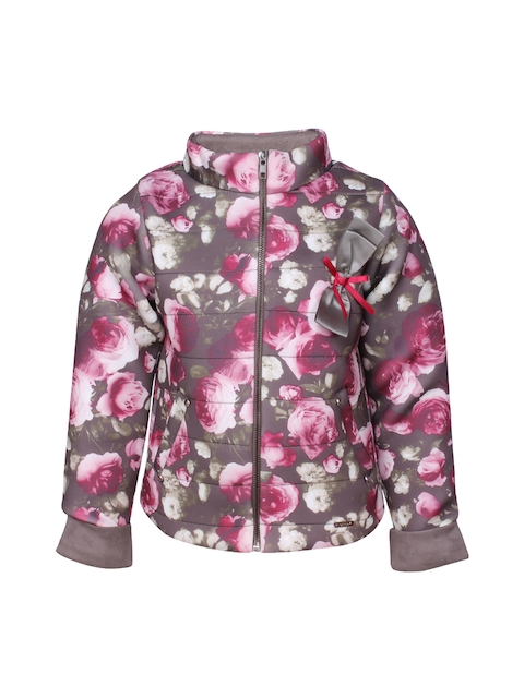 CUTECUMBER Girls Brown Printed Puffer Jacket