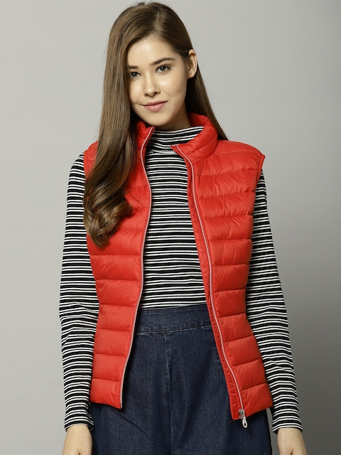 Marks & Spencer Women Red Solid Hooded Puffer Jacket
