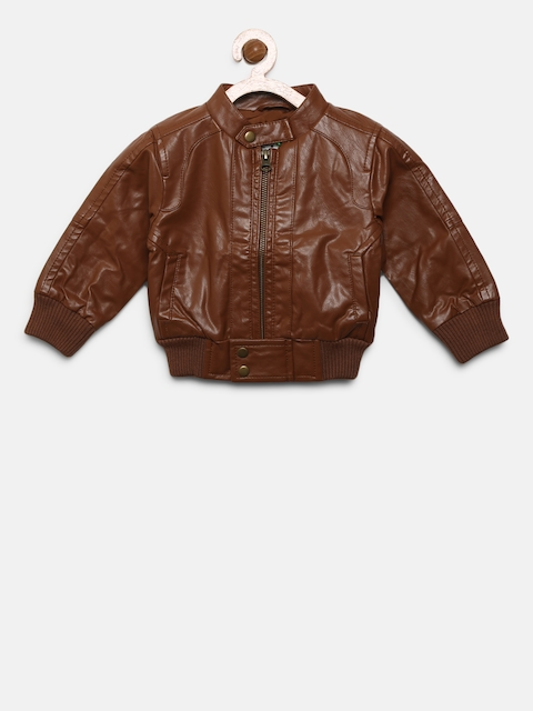United Colors of Benetton Boys Brown Solid Bomber Jacket