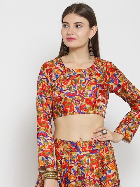 Castle Red Silk Printed Saree Blouse