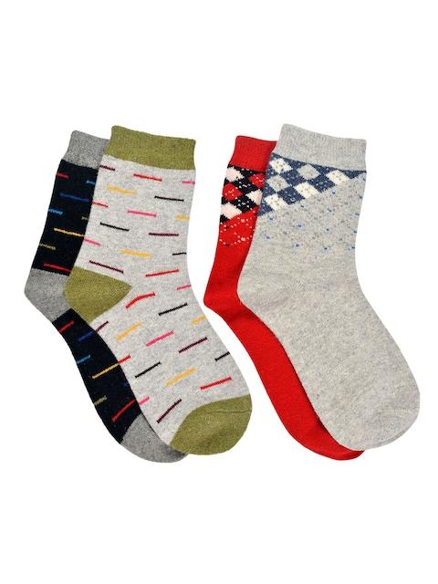 MARC Women Set of 4 Grey-Melange, Red & Black Above Ankle-Length Socks