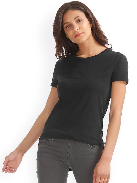 GAP Women Black Round Neck Burnout T-shirt