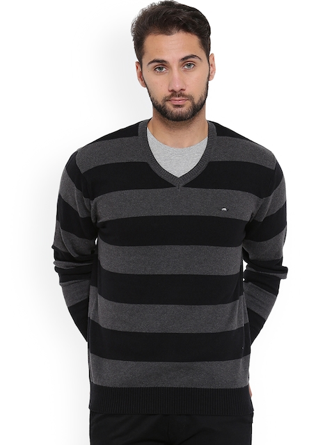 Duke Men Black & Grey Striped Pullover
