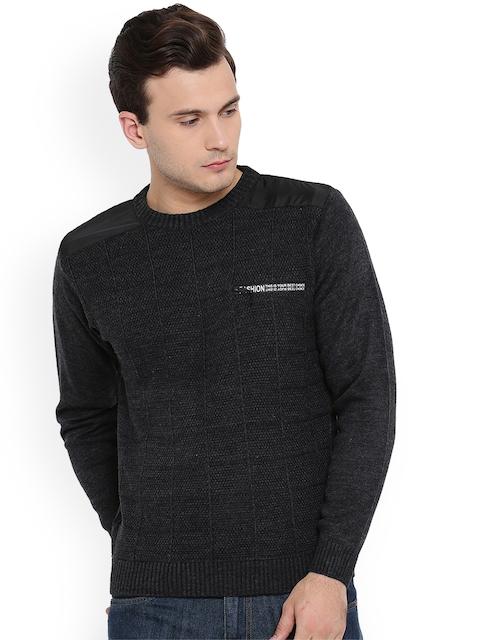 Duke Men Black Self Design Pullover
