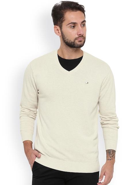 Duke Men Beige Solid Pullover