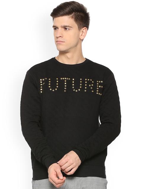 People Men Black Self Design Sweatshirt