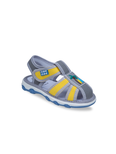 MeeMee Boys Grey & Yellow Fisherman Sandals