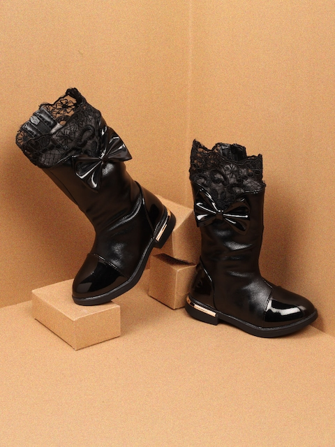 Walktrendy Girls Black Woven Design High-Top Flat Boots