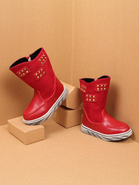 Walktrendy Girls Red Solid Synthetic High-Top Flat Boots