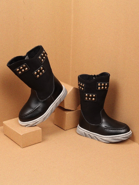 Walktrendy Girls Black Solid Synthetic High-Top Flat Boots