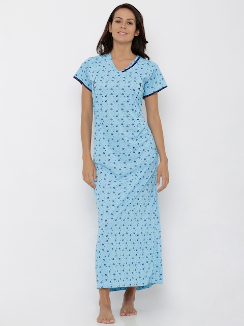 Pretty Awesome Blue Printed Nightdress