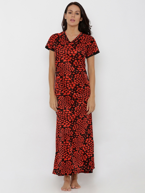 Pretty Awesome Red & Black Printed Nightdress