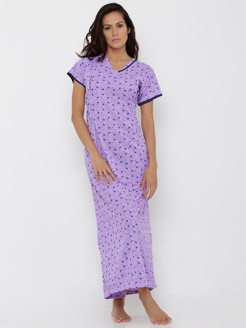 Pretty Awesome Lavender Printed Nightdress