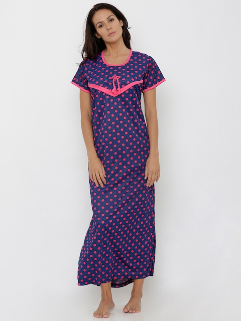 Pretty Awesome Navy Blue & Pink Printed Nightdress
