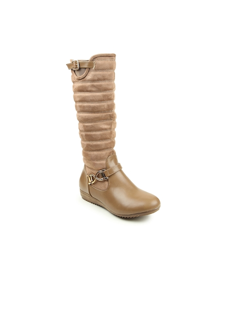 Lovely Chick Women Khaki Solid Synthetic High-Top Flat Boots