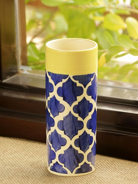 ExclusiveLane Blue & Yellow Hand-Painted The Big-Straight Moroccan Vase