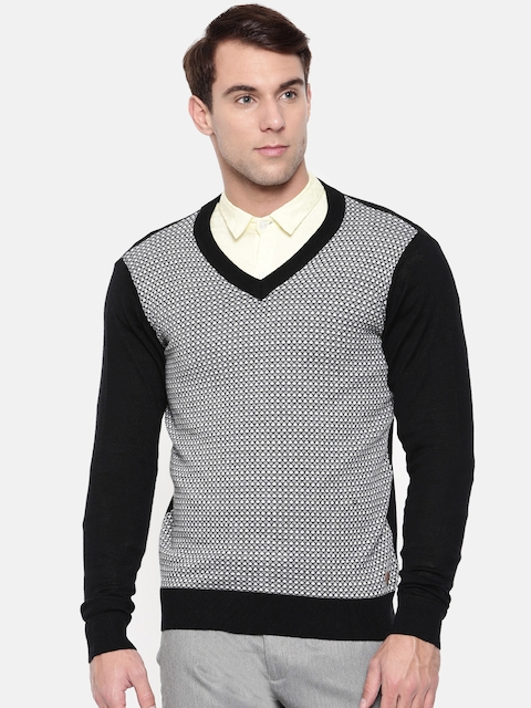 Raymond Men Black & White Self Design Pullover