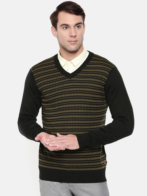 Raymond Men Black & Mustard Yellow Self Design Pullover