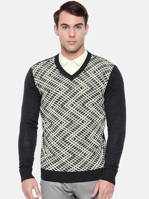 Raymond Men Black & Off White Self Design Pullover