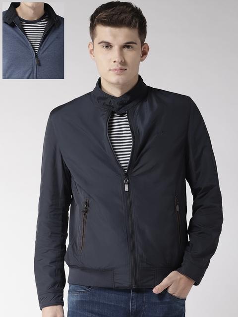 Arrow Sport Men Blue Solid Reversible Bomber Jacket