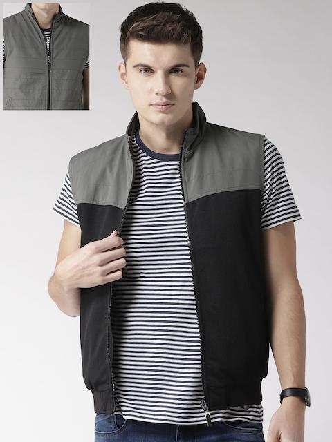 Arrow Sport Men Black & Grey Solid Reversible Bomber Jacket