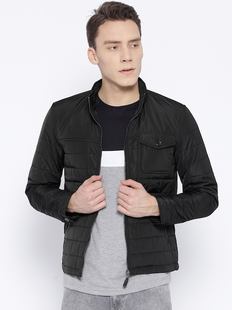 Arrow Sport Men Black Solid Quilted Jacket