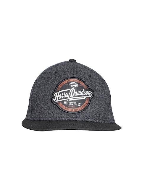 Harley-Davidson Men Charcoal Grey & Black Solid Cap with Appliqué Detail
