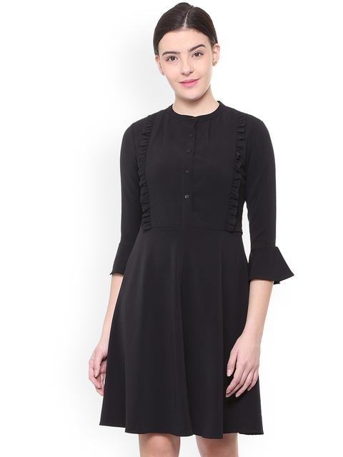 Van Heusen Woman Women Black Solid Fit and Flare Dress