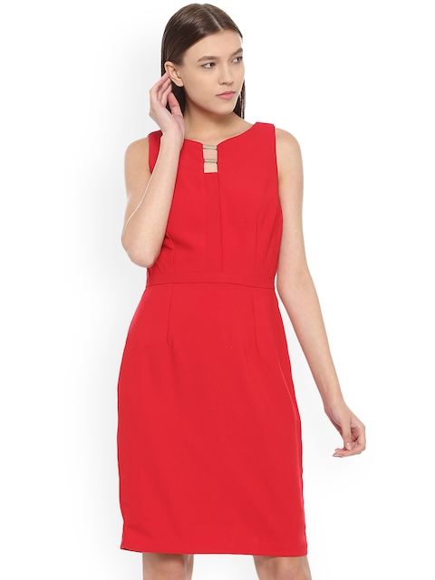 Van Heusen Woman Women Red Solid Sheath Dress