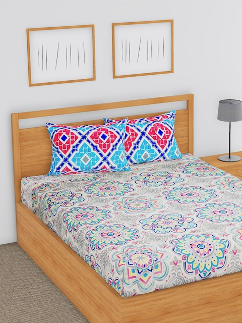 BLUSH Multicoloured Floral Flat 144 TC Cotton 1 Double Bedsheet with 2 Pillow Covers