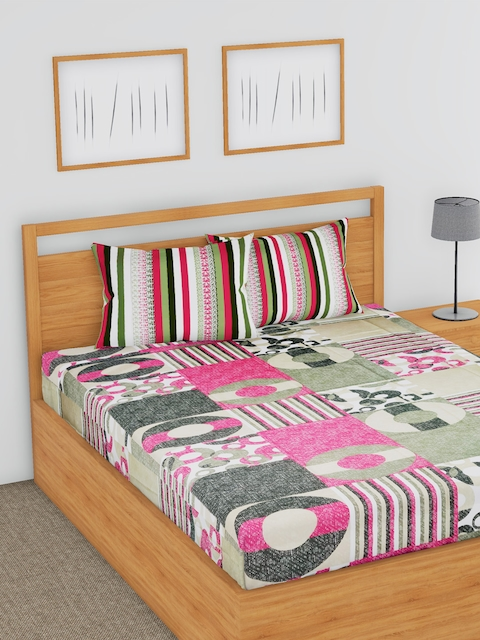 BLUSH Multicoloured Abstract Flat 180 TC Cotton 1 Double Bedsheet with 2 Pillow Covers