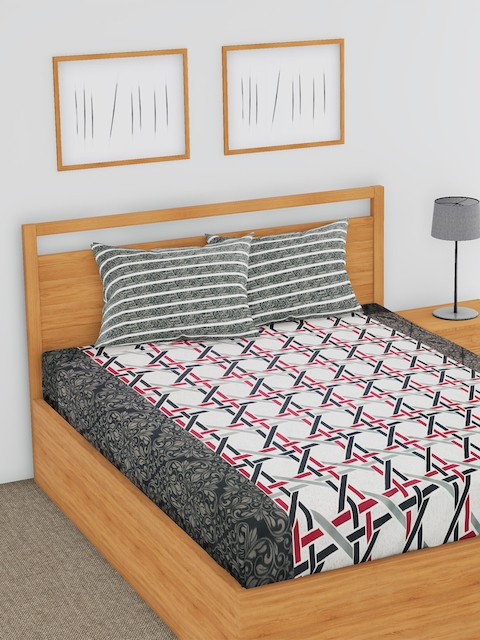 BLUSH White & Grey Striped Flat 144 TC Cotton 1 Double Bedsheet with 2 Pillow Covers