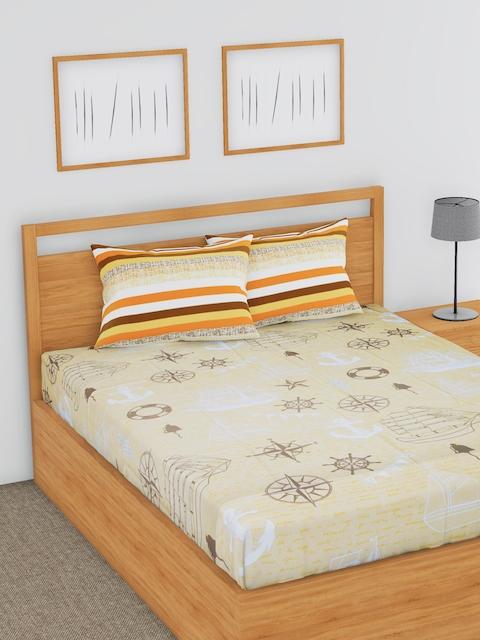 BLUSH Beige Conversational Flat 144 TC Cotton 1 Double Bedsheet with 2 Pillow Covers