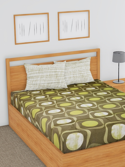 BLUSH Green & Beige Striped Flat 144 TC Cotton 1 Double Bedsheet with 2 Pillow Covers