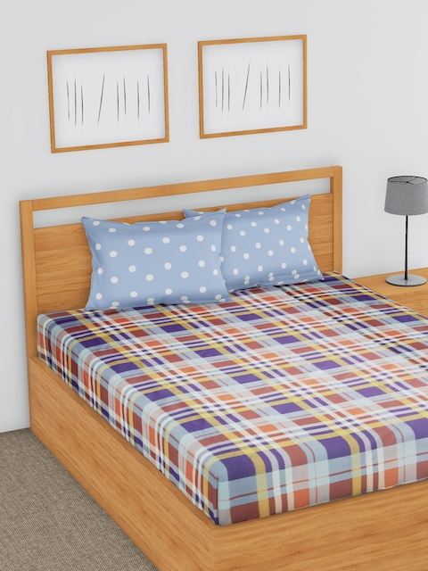 BLUSH Multicoloured Geometric Flat 180 TC Cotton 1 Double Bedsheet with 2 Pillow Covers