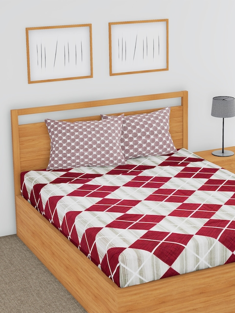 BLUSH Grey & Maroon Geometric Flat 144 TC Cotton Double Bedsheet with 2 Pillow Covers