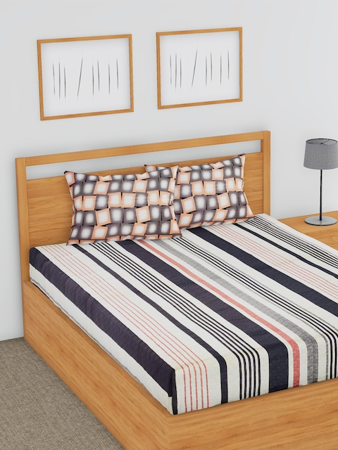 BLUSH Multicoloured Striped Flat 180 TC Cotton 1 Double Bedsheet with 2 Pillow Covers
