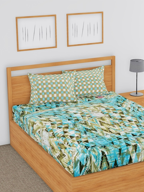 BLUSH Multicoloured Abstract Flat 144 TC Cotton Double Bedsheet with 2 Pillow Covers