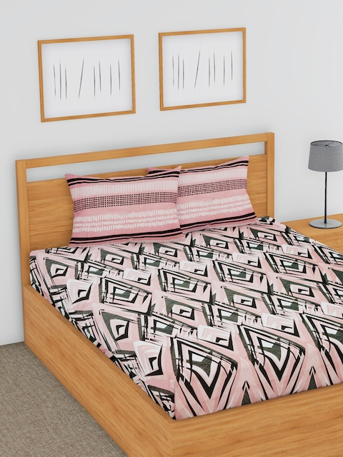 BLUSH Peach-Coloured & Black Flat 180 TC Cotton Double Bedsheet with 2 Pillow Covers