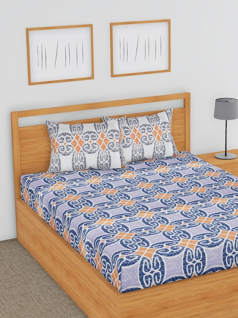 BLUSH Blue & Coral Geometric Flat 180 TC Cotton 1 Double Bedsheet with 2 Pillow Covers