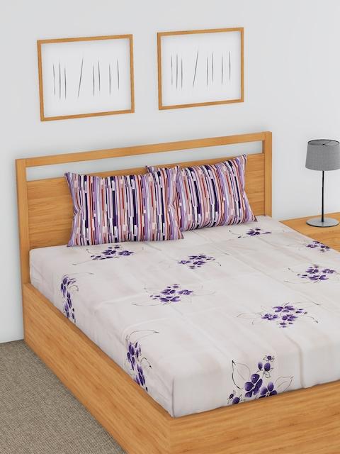 BLUSH Beige & Purple Floral Flat 180 TC Cotton 1 Double Bedsheet with 2 Pillow Covers