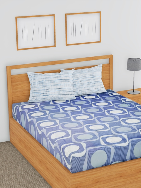 BLUSH Blue & White Geometric Flat 144 TC Cotton 1 Double Bedsheet with 2 Pillow Covers