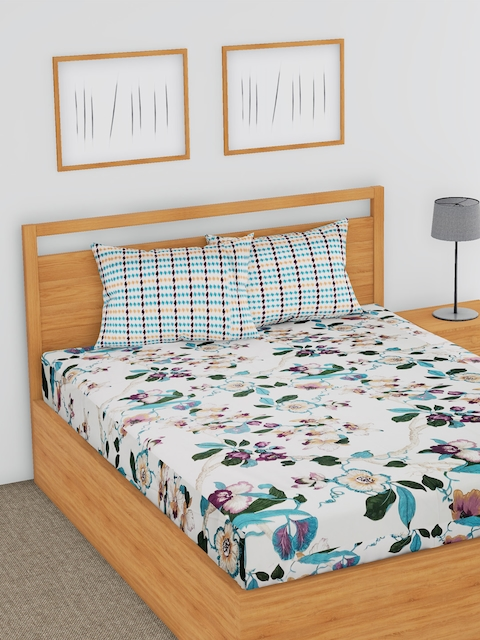 BLUSH White & Teal Blue Floral Flat 180 TC Cotton 1 Double Bedsheet with 2 Pillow Covers