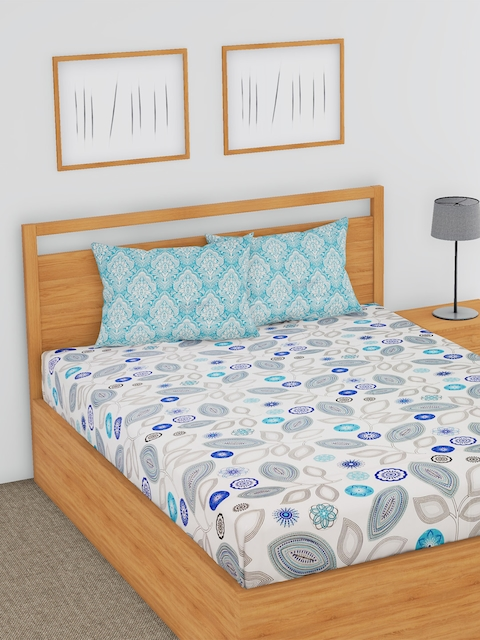 BLUSH White & Blue Floral Flat 180 TC Cotton Double Bedsheet with 2 Pillow Covers