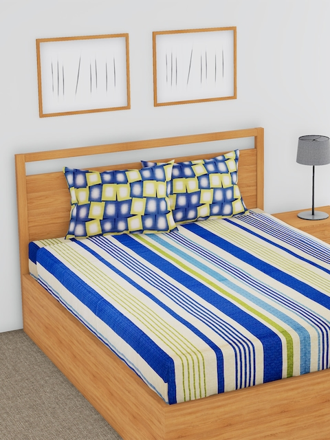 BLUSH Blue & Yellow Striped Flat 180 TC Cotton Double Bedsheet with 2 Pillow Covers