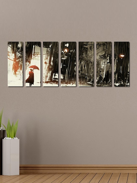 999Store White & Grey 7-Panel Lonely Woman with Umbrella Wall Art