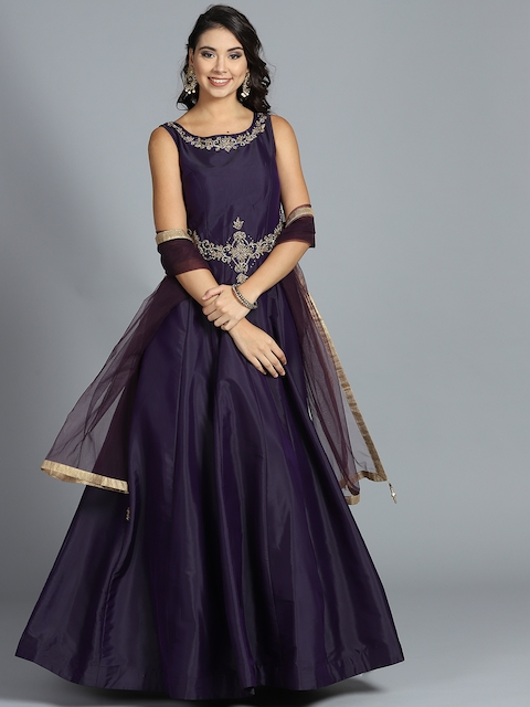 Chhabra 555 Aubergine Zircon Work Stitched Made to Measure Cocktail Gown with Dupatta