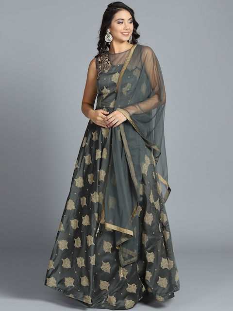 Chhabra 555 Grey & Beige Printed Stitched Made to Measure Cocktail Gown with Dupatta
