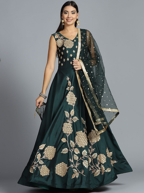Chhabra 555 Green & Golden Embellished Stitched Made to Measure Cocktail Gown with Dupatta