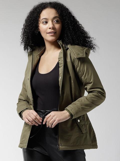 Okane Women Olive Green Solid Hooded Padded Jacket